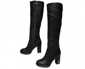 Дамски елегантни ботуши  черни от еко кожа