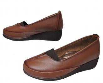Дамски ежедневни обувки естествена кожа кафяви