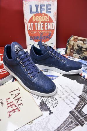 Мъжки спортни обувки еко кожа тъмно сини