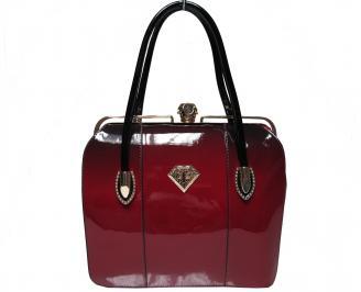 Дамска чанта еко кожа/лак червено/черно