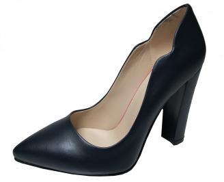 Дамски елегантни обувки еко кожа тъмно сини