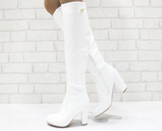 Дамски елегантни ботуши бели от еко кожа