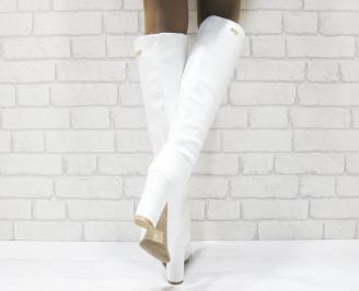 Дамски елегантни ботуши бели от еко кожа 3