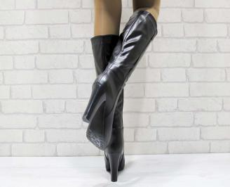Дамски елегантни ботуши  черни от еко кожа 3