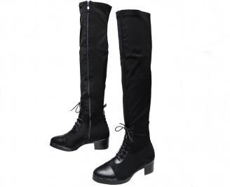 Дамски ежедневни ботуши тип чизми еко кожа/стреч черни