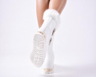 Дамски  боти бели от еко кожа с пух 3
