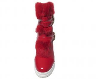 Дамски ежедневни боти червени от еко кожа с пух