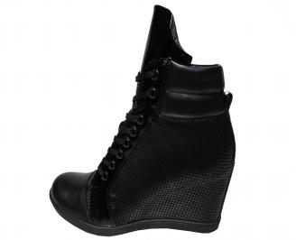 Дамски боти на платформа черни от естествена  кожа