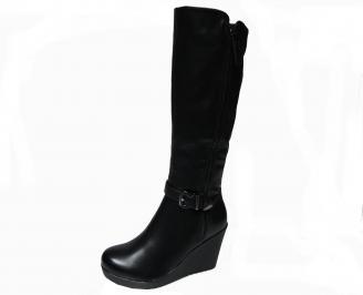 Дамски ботуши на  платформа черни от еко кожа