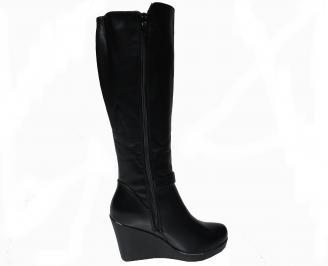 Дамски ботуши на  платформа черни от еко кожа 3