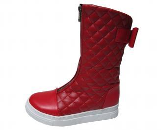 Дамски ботуши на платформа червени с бяло ходило от еко кожа