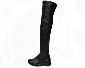 Дамски ботуши тип чизми естествена кожа черни