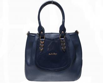 Дамска чанта синя еко кожа/лак