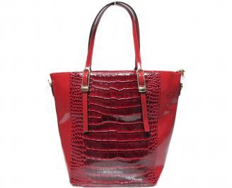 Дамска чанта червена еко кожа/лак