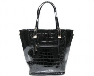 Дамска чанта черна еко кожа/лак