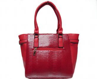 Дамска чанта червена еко кожа