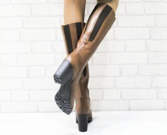 Дамски ботуши от естествена кожа кафяви 3