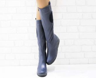 Дамски ботуши естествена кожа тъмно сини