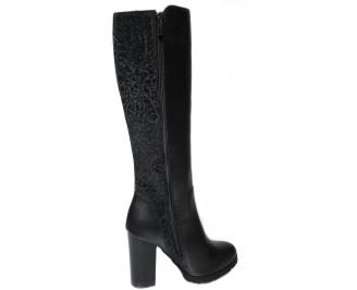 Дамски елегантни ботуши естествена кожа черни 3