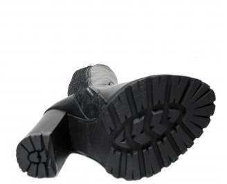 Дамски елегантни ботуши естествена кожа черни