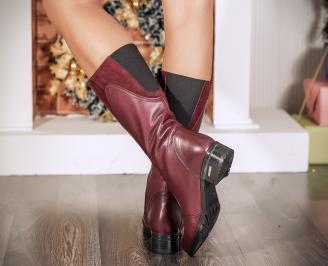 Дамски ботуши естествена кожа червени