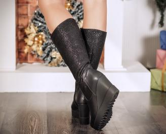 Дамски ботуши естествена кожа черни 3