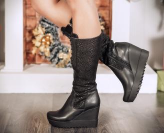 Дамски ботуши естествена кожа черни