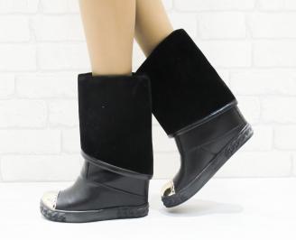 Дамски боти/ ботуши на платформа еко кожа черни