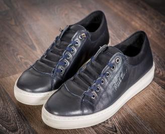 Мъжки спортни обувки естествена кожа тъмно сини