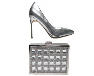Комплект бална чанта и обувки еко кожа сребристи