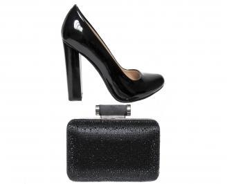 Комплект бална чанта и обувки еко кожа черни