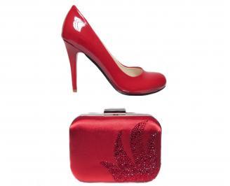 Комплект бална чанта и обувки еко кожа червени