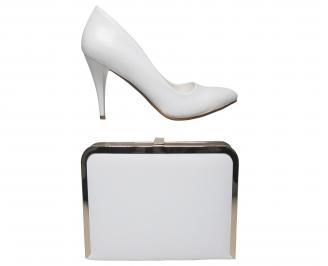 Комплект бална чанта и обувки еко кожа бели
