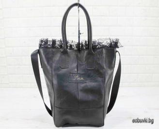 Дамска чанта естествена кожа черна