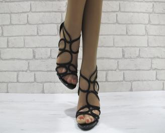 Дамски елегантни сандали на ток черни