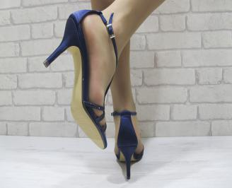 Дамски елегантни сандали на ток тъмно сини 3
