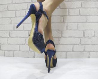 Дамски елегантни сандали на ток  сини 3