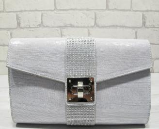 Абитуриентска чанта сребристa  текстил