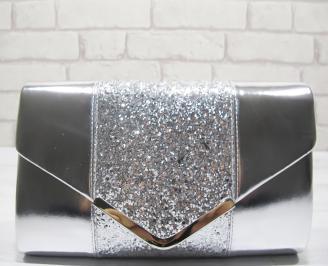 Абитуриентска чанта сребристa еко кожа