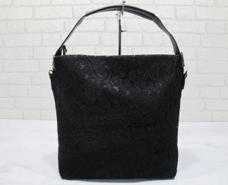 Дамска чанта еко кожа/дантела черна