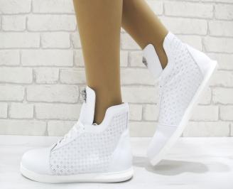 Дамски обувки бели естествена кожа