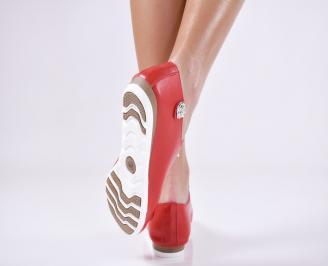 Дамски обувки равни естествена кожа червени 3