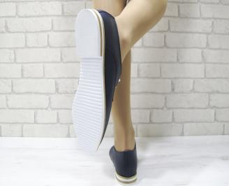 Дамски обувки равни естествена кожа тъмно сини 3