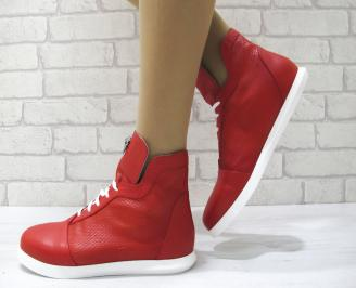 Дамски обувки равни естествена кожа червени