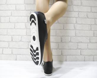 Дамски обувки равни естествена кожа черни 3