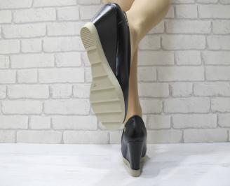 Дамски обувки на платформа еко кожа черни 3