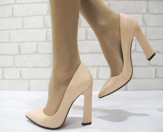 Дамски елегантни обувки еко кожа/лак корал