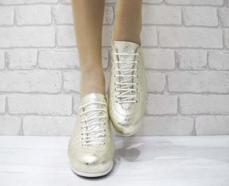 Дамски обувки равни естествена кожа златисти