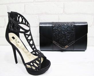 Комплект бална чанта и обувки текстил черни