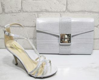 Комплект бална чанта и сандали текстил/сатен/ сребристи